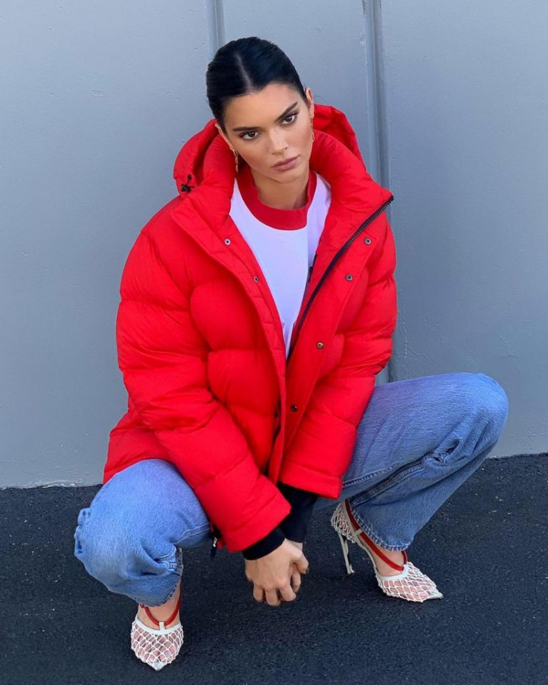 kendall jenner wearing red puffer jacket