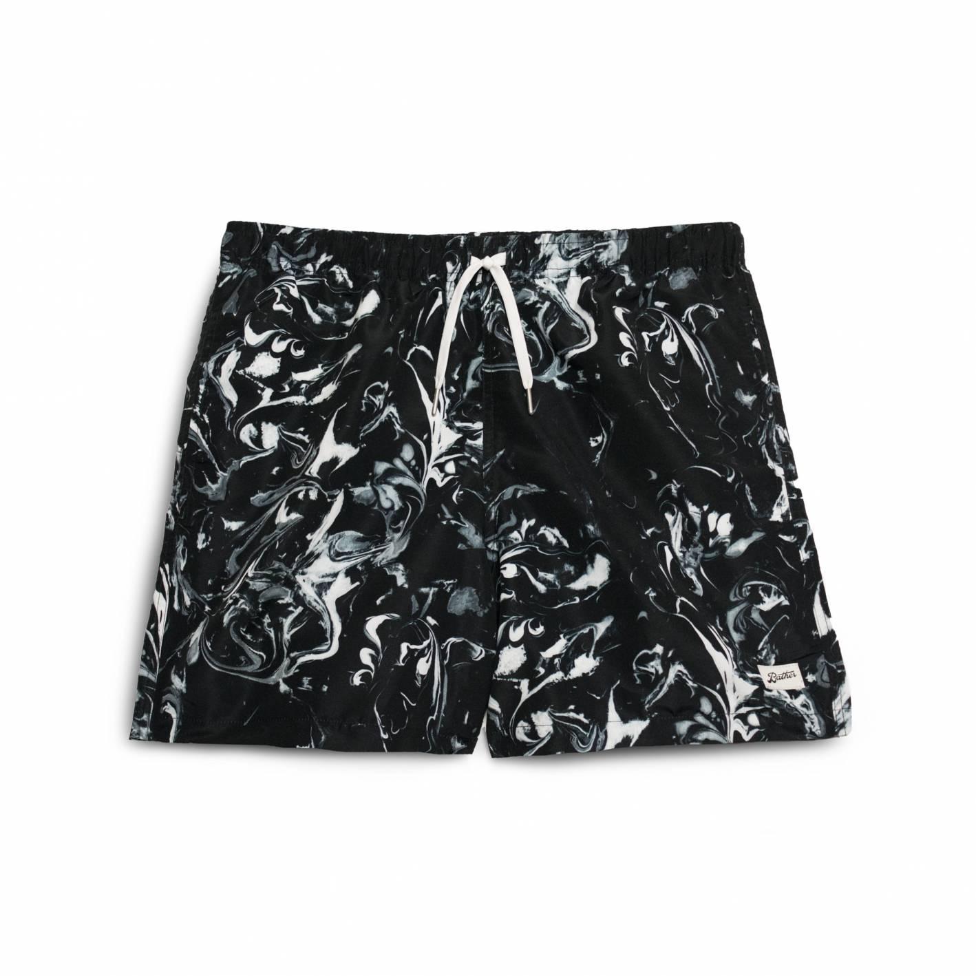 bather black marble shorts