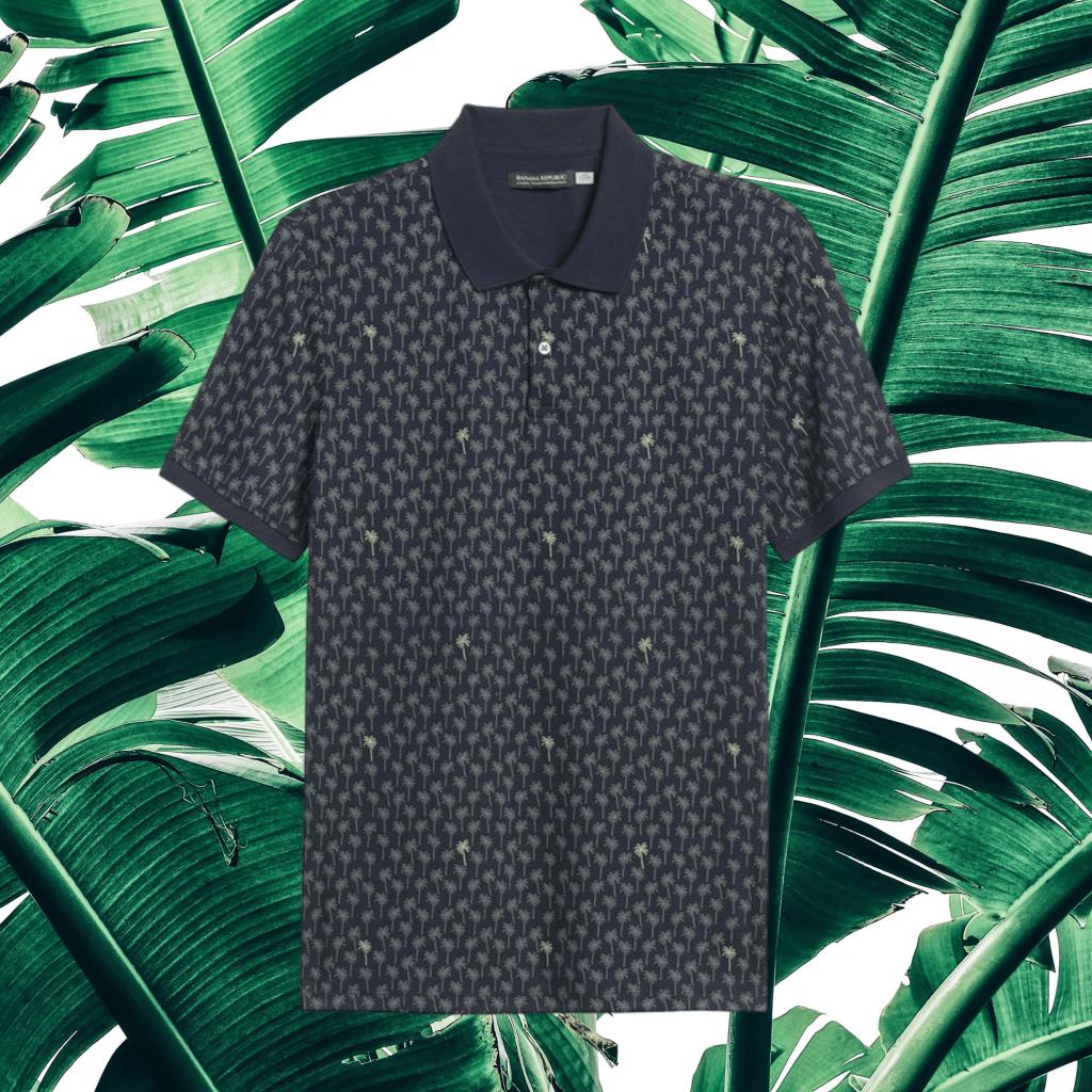 banana republic palm print golf shirt