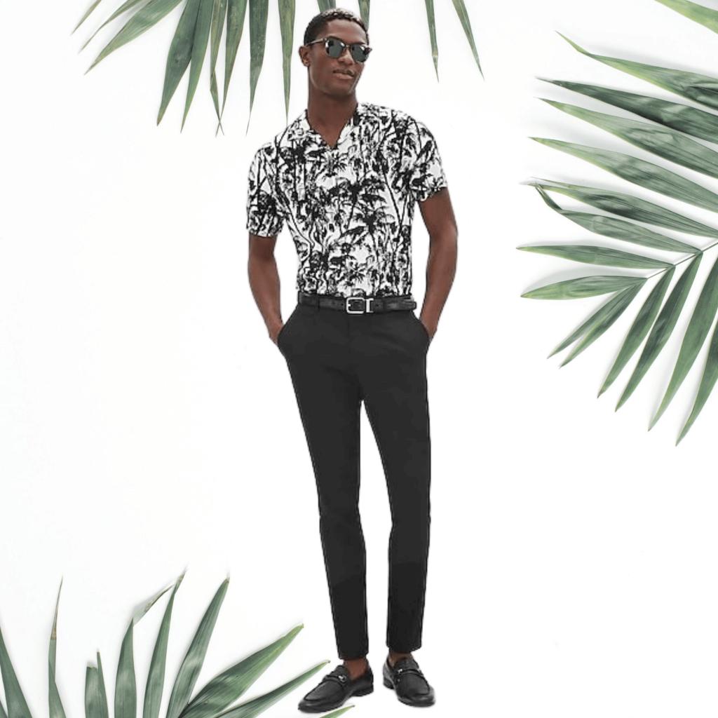 express palm print camp collar shirt