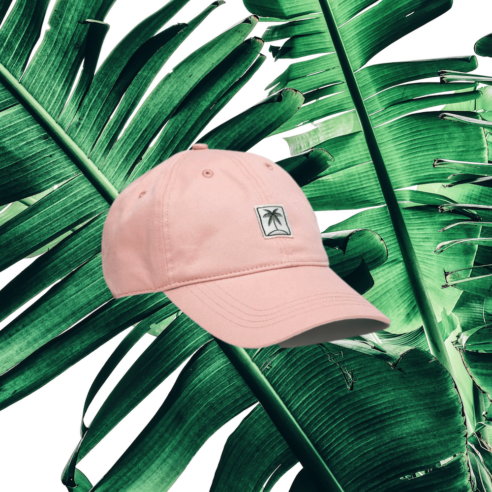pink old navy palm tree dad hat