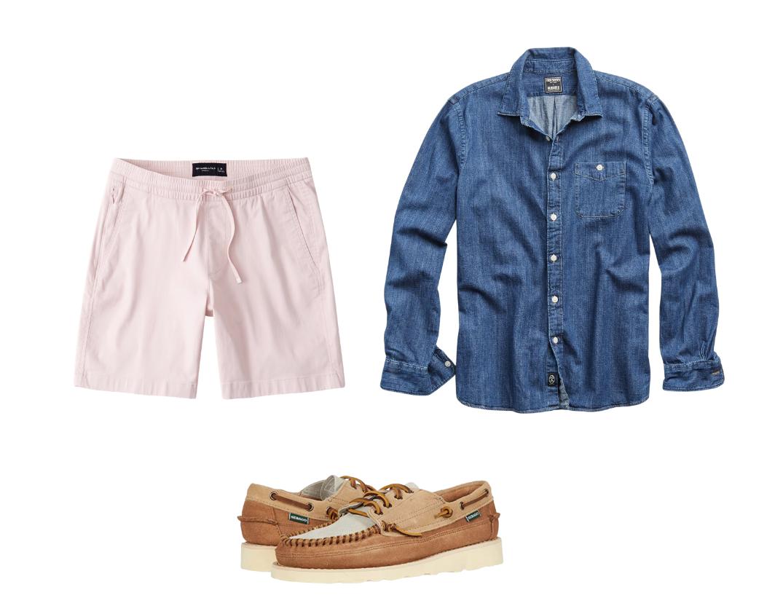 men's drawstring shorts outfit