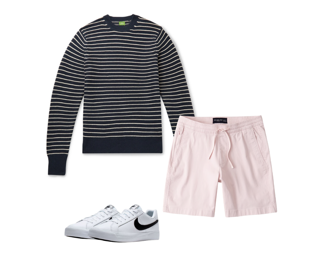 men's drawstring shorts outfit with striped shirt