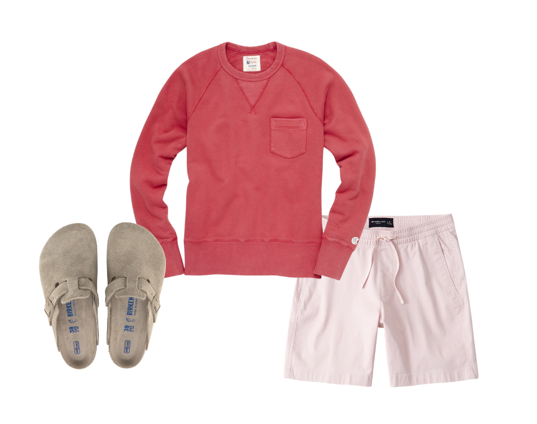 men's drawstring shorts outfit with clogs