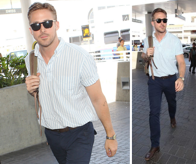ryan gosling wearing casual short sleeve shirt at airport
