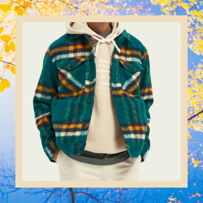 scotch soda checked wool-blend trucker jacket