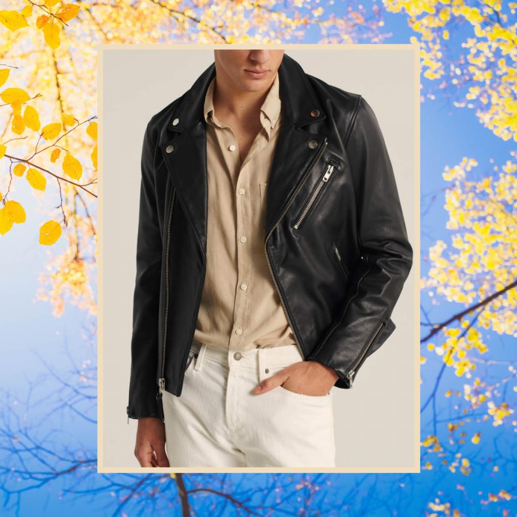 abercrombie fitch leather biker jacket