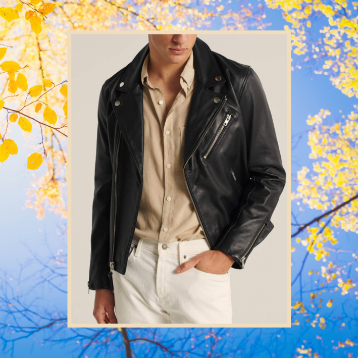 abercrombie fitch leather biker jacket