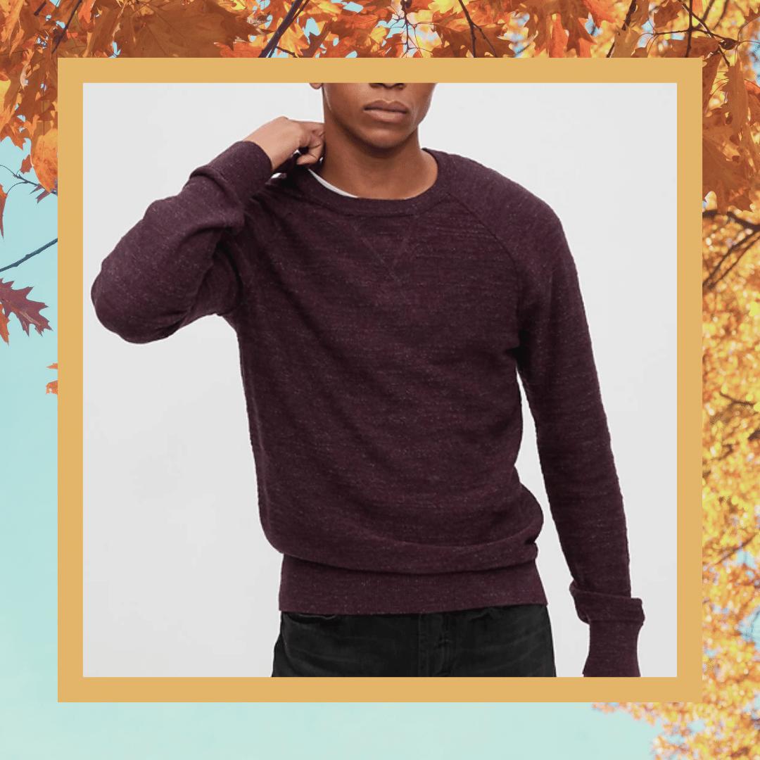 gap burgundy crewneck sweater