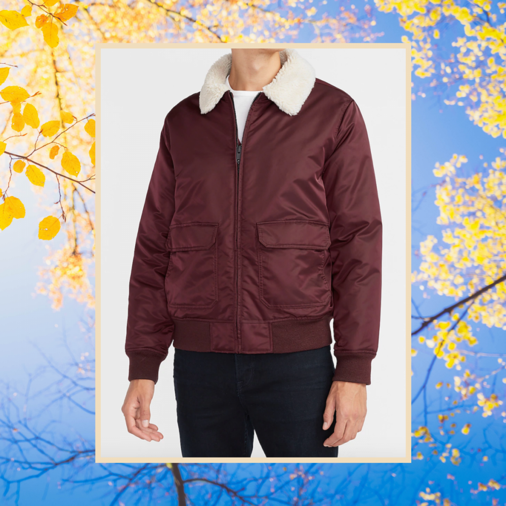 express Sherpa Collar Water-Resistant Nylon Bomber Jacket, best fall jackets for guys
