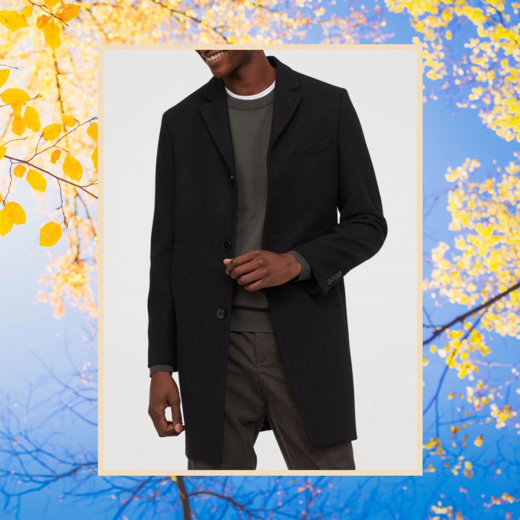 H&M wool blend black coat