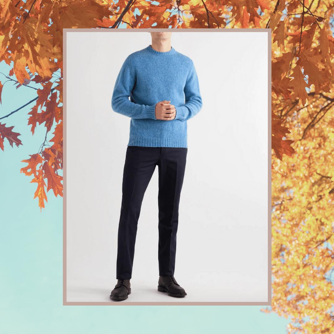 Kingsman blue shetland wool sweater