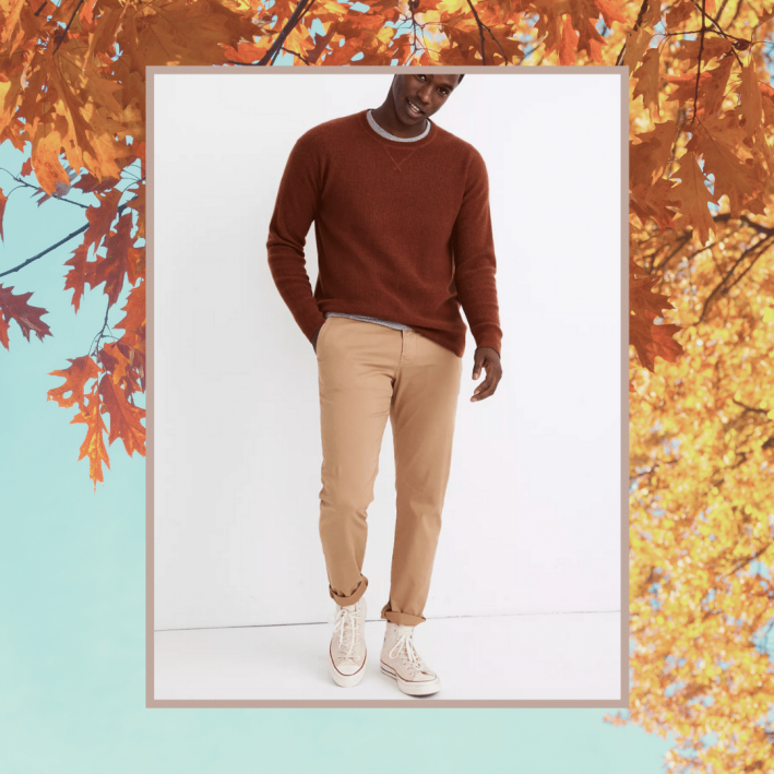 madewell cashmere heather rust sweater