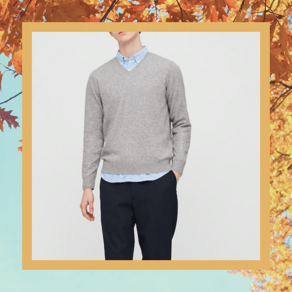 uniqlo grey v-neck sweater