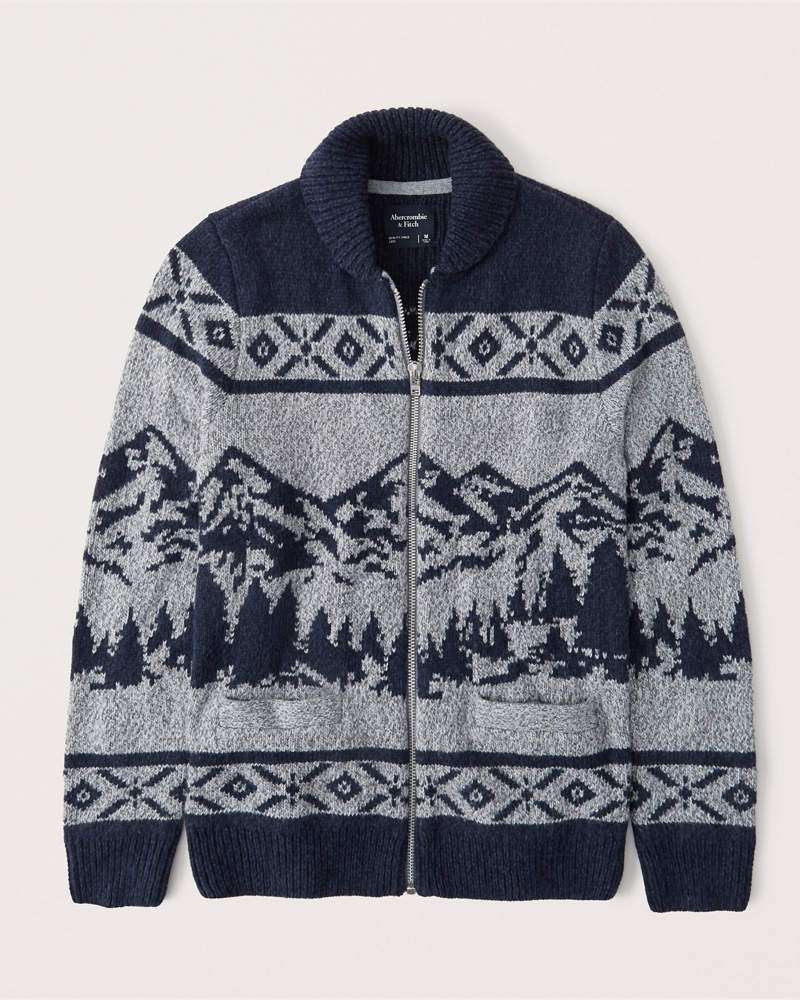 abercrombie & fitch pattern shawl cardigan