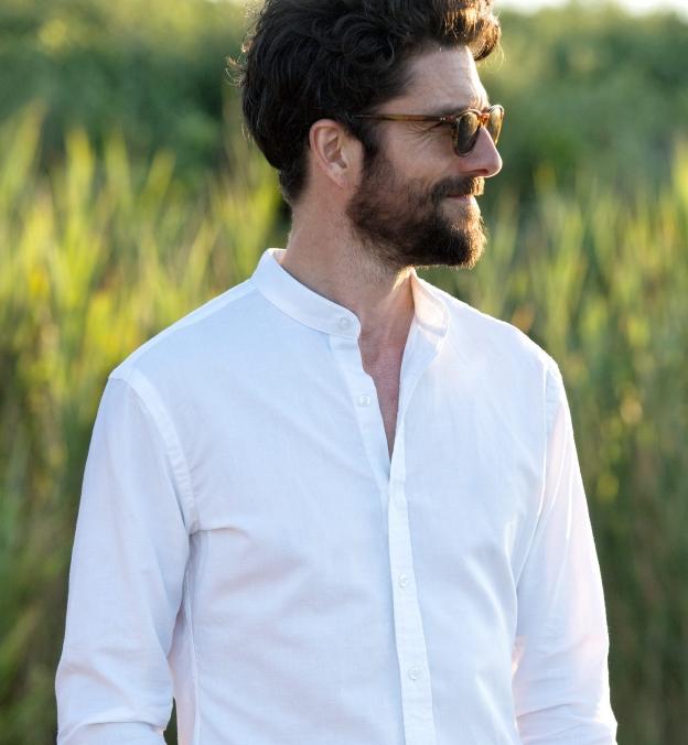 proper cloth band collar shirt