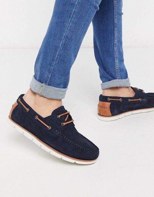 asos navy boat shoe