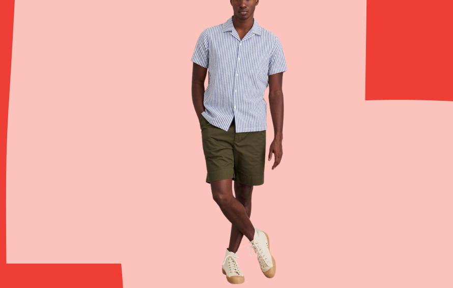 Alex Mill striped seersucker camp shirt