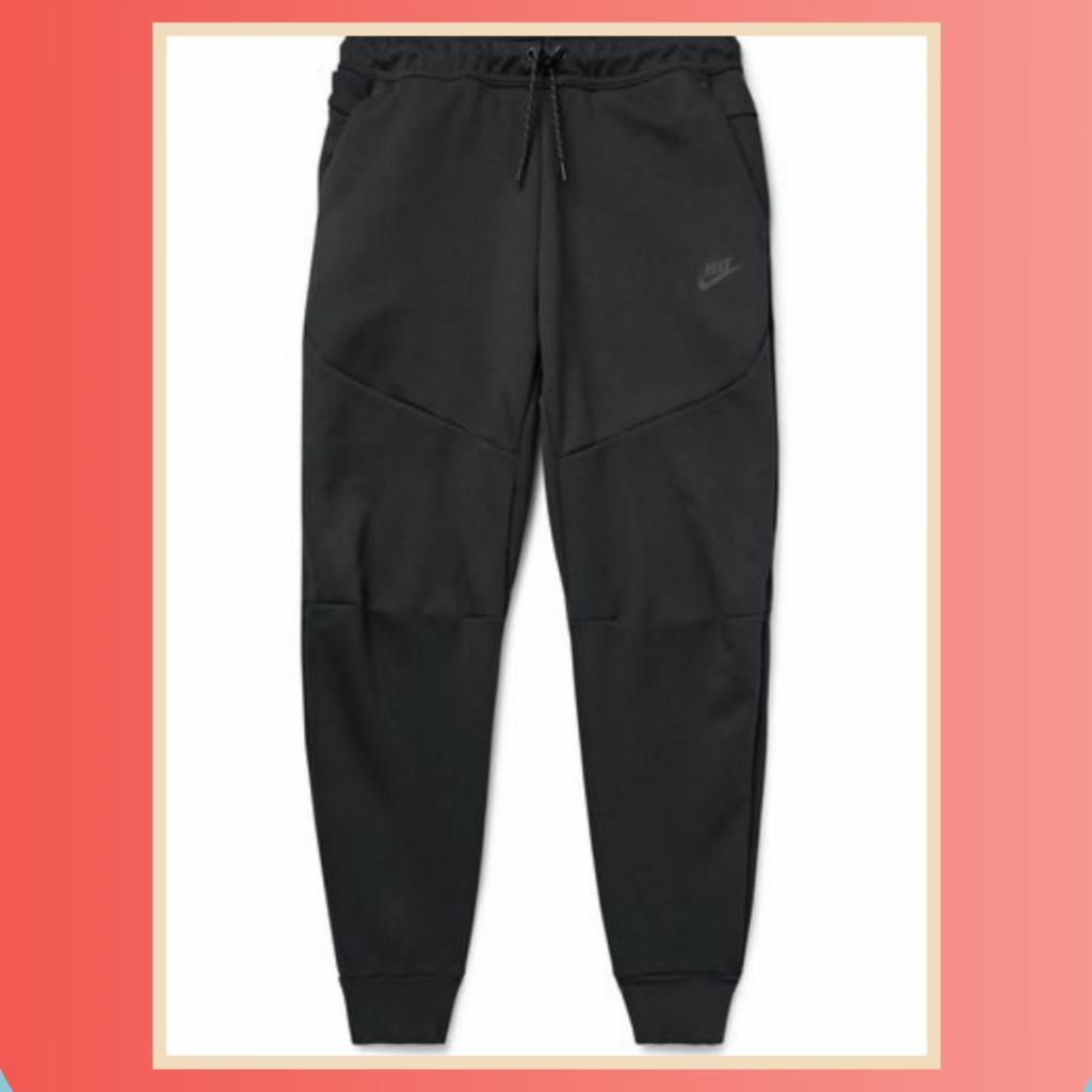 Nike Sportswear Tapered Logo-Print Cotton-Blend Tech-Fleece Sweatpants black