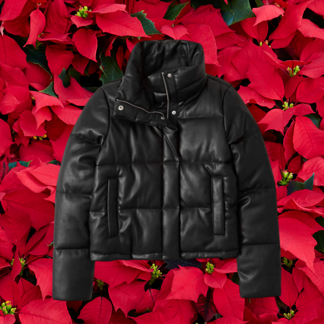 abercrombie & fitch black vegan leather puffer jacket