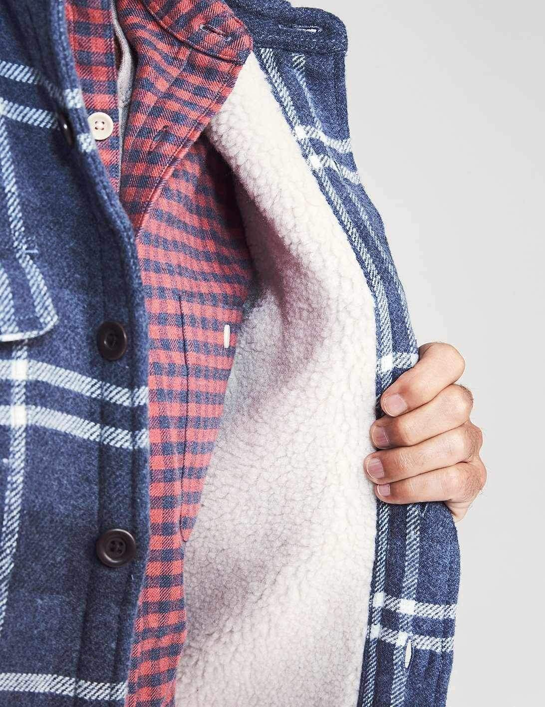 Faherty Sherpa Lined Plaid CPO