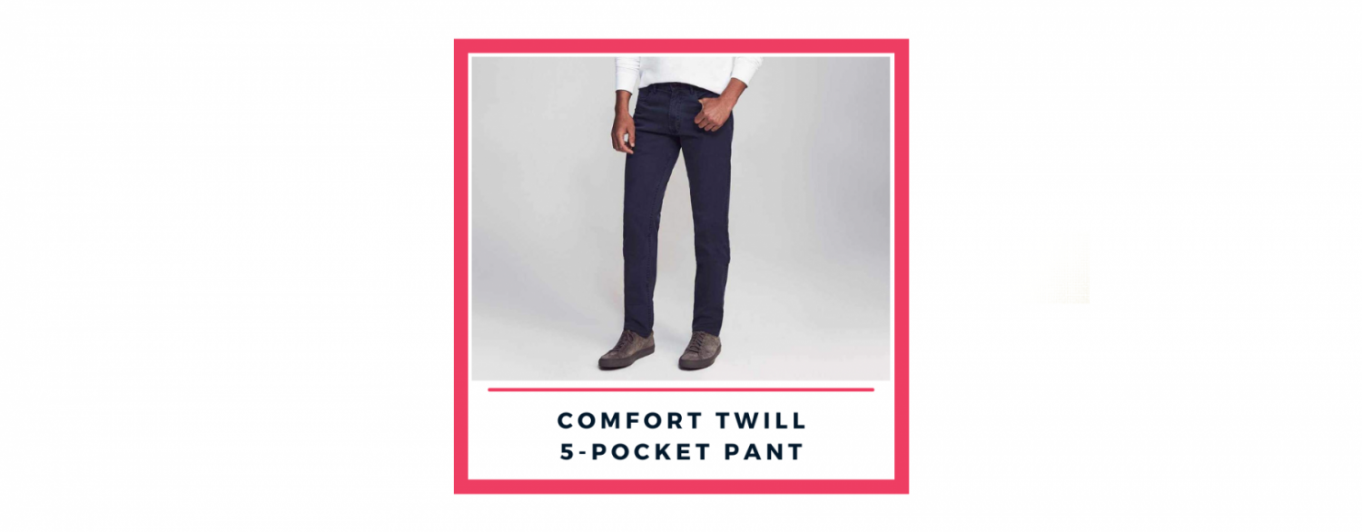Faherty comfort twill 5-pocket pant, 2021 men's fashion trends