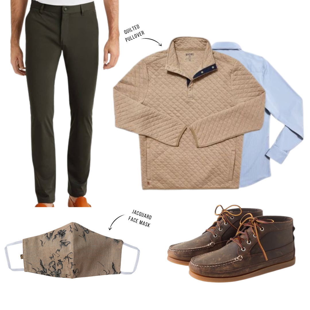 rhone commuter pants outfit with quilted pullover