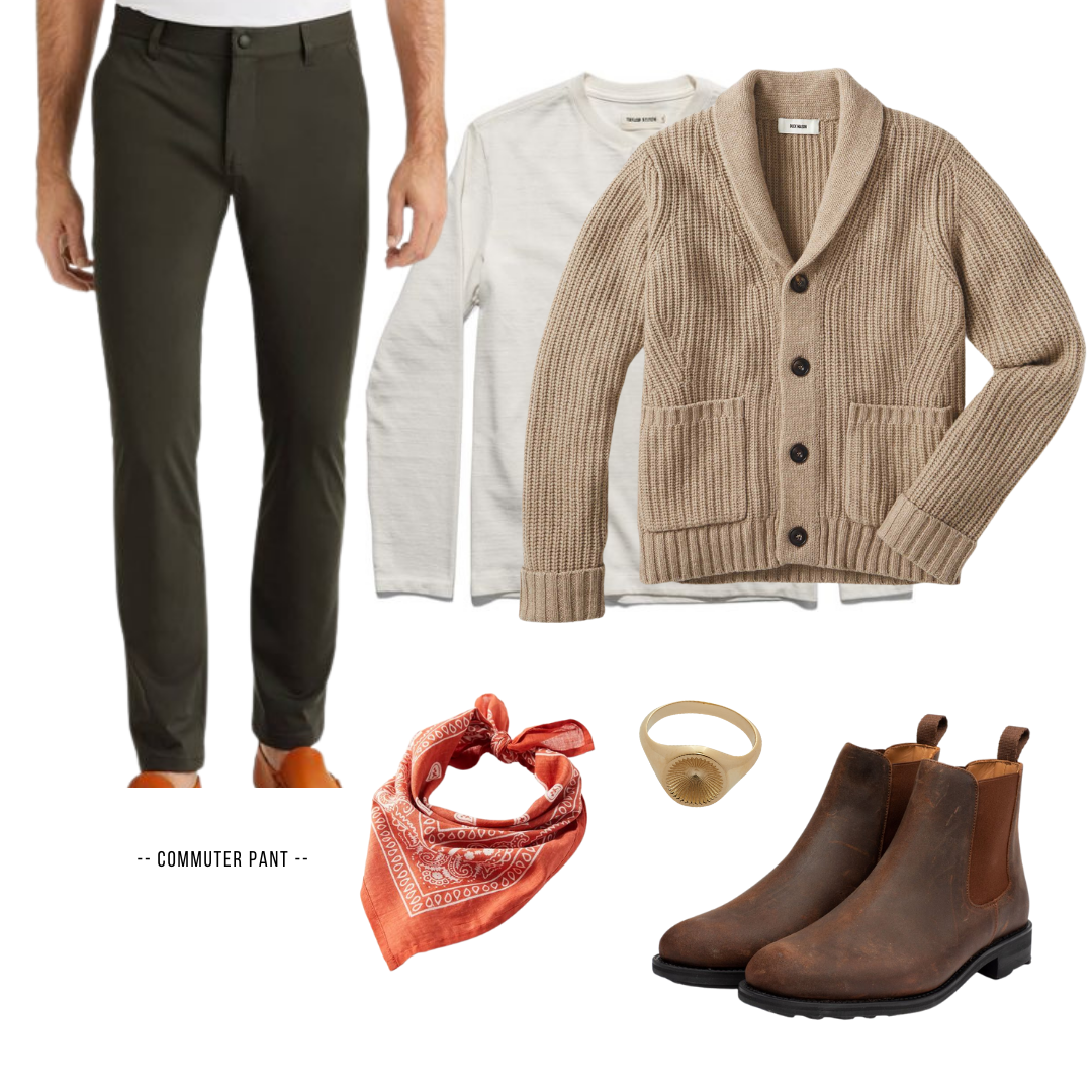 shawl collar cardigan outfit for men