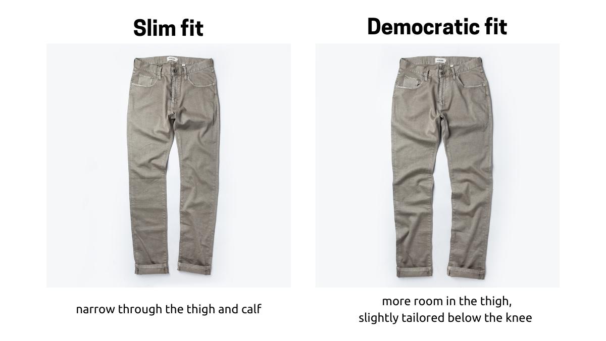 Taylor Stitch Slim fit v. Democratic fit