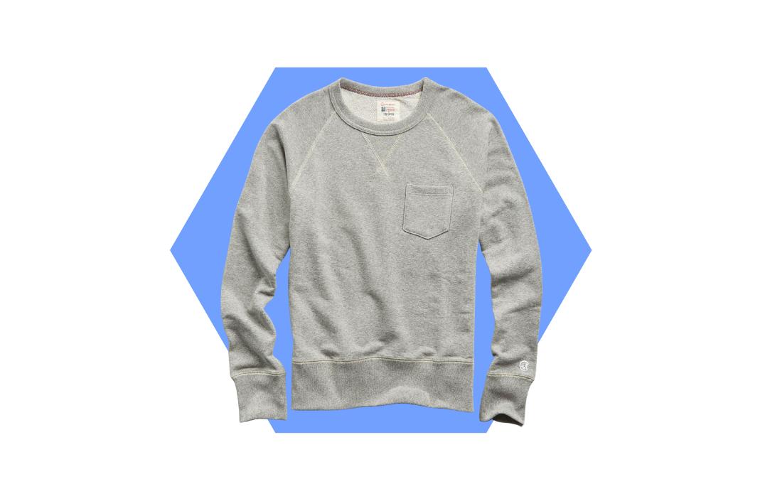 stylish men's grey crewneck sweatshirt