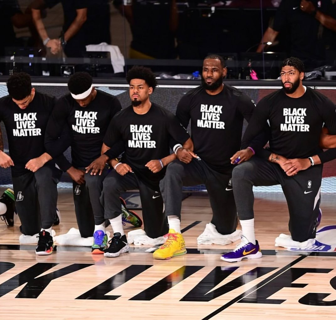 LeBron James and teammates wearing Black Lives Matter shirts