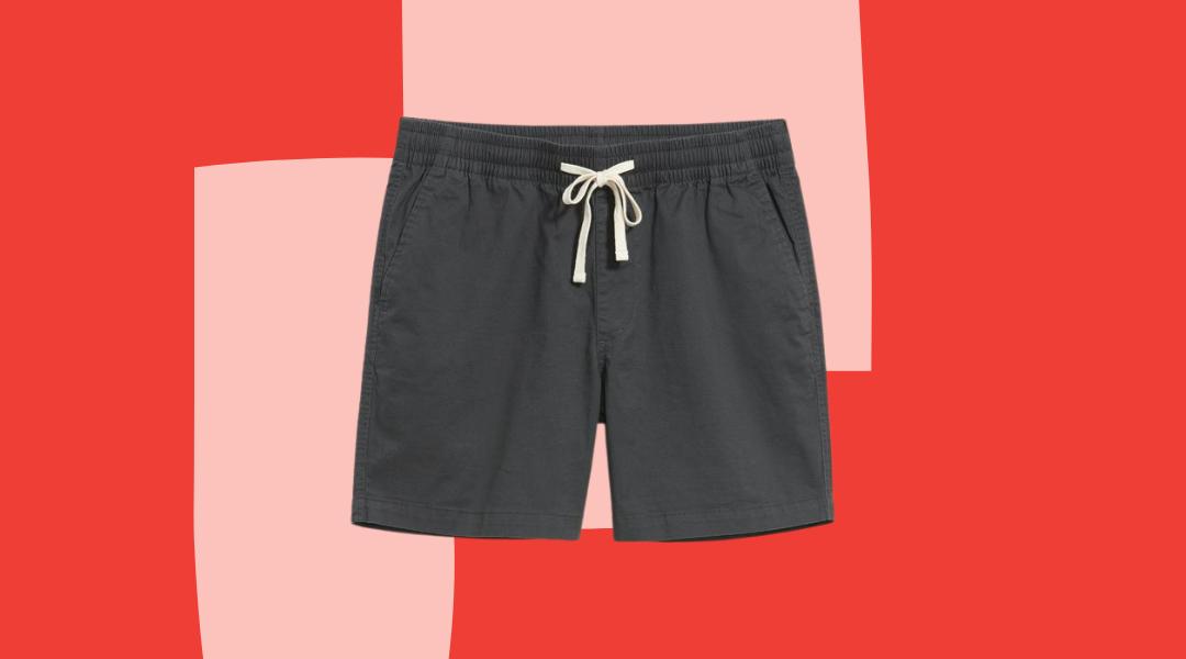Buck Mason charcoal gray drawstring shorts