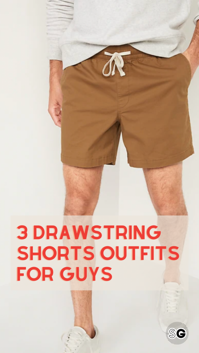 2021 drawstring shorts outfits for guys