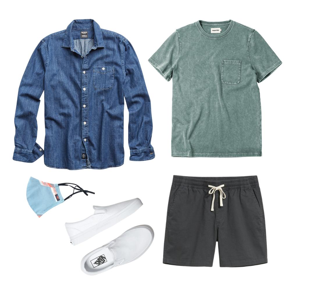 men's denim shirt outfit