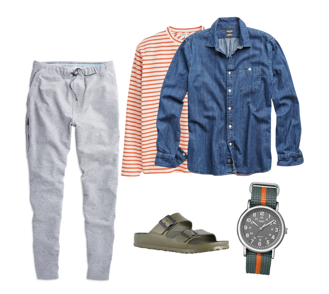 casual denim shirt outfit for men