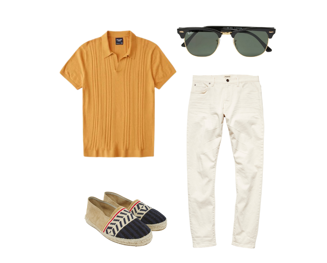 knit polo shirt outfits for men