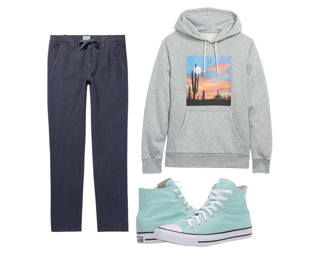 men's graphic hoodie sweatshirt outfit