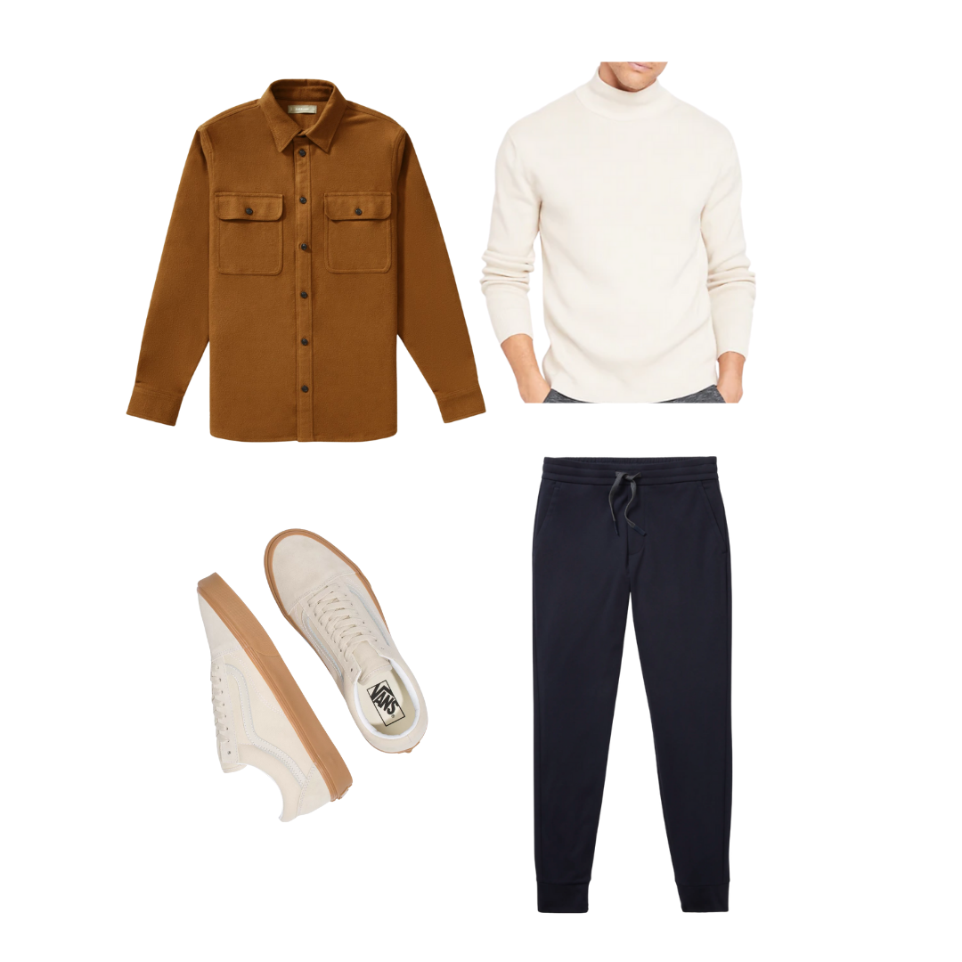 men's drawstring pants outfit with turtleneck