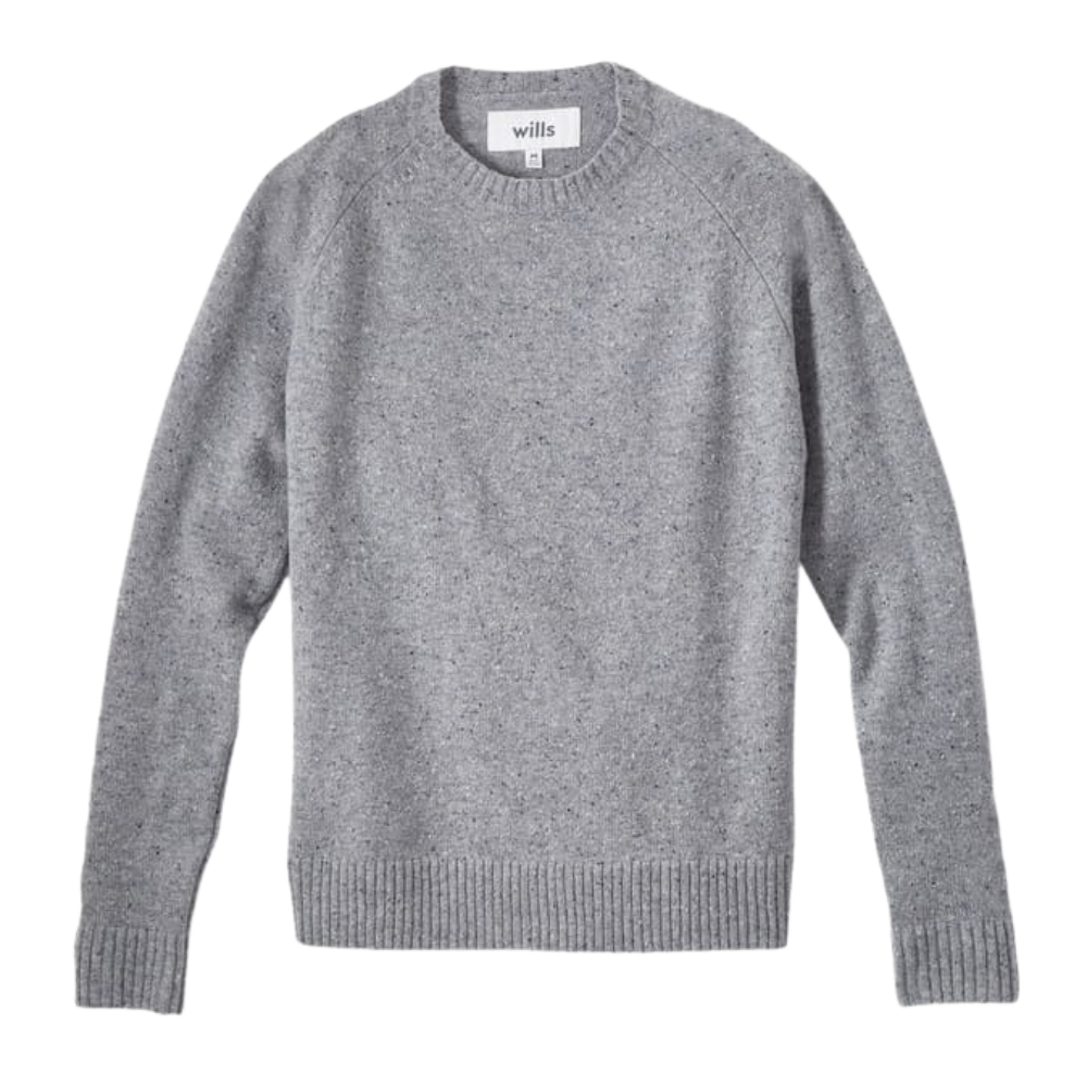 wills grey speckled sweater